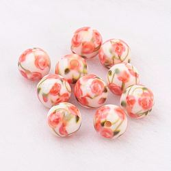 Spray Painted Resin Beads, with Flower Pattern, Round, Coral, 10mm, Hole: 2mm(GLAA-F049-A07)