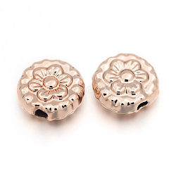 Cadmium Free & Nickel Free & Lead Free Alloy Flower Beads, Long-Lasting Plated, Rose Gold, 8x4mm, Hole: 1mm(PALLOY-E390-15RG-NR)