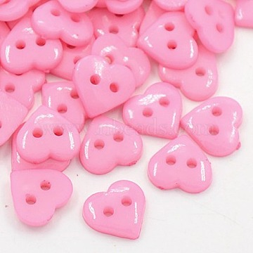 Acrylic Sewing Buttons for Costume Design, Heart Buttons, 2-Hole, Dyed, Pink, 10x10x2mm, Hole: 1mm(X-BUTT-E085-C-08)