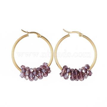 304 boucles d'oreilles en acier inoxydable, avec des perles de verre à facettes, or, pourpre, 42x33x2 mm; broches: 0.8x1.2 mm(EJEW-JE03572-02)