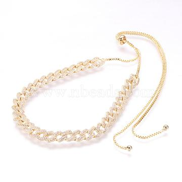 Brass Micro Pave Cubic Zirconia Chain Necklaces, Golden, 26.3 inches(67cm)(NJEW-F167-01G)