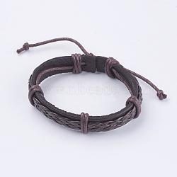 "Bracelets réglables unisexe en corde de peau de vache, coconutbrown, 2-3/8"" (60 mm)(BJEW-F300-07B)"