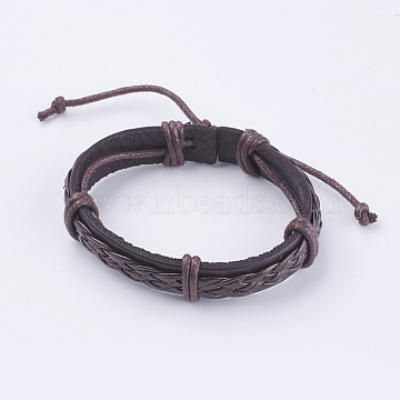 Adjustable Unisex Cowhide Cord Bracelets, CoconutBrown, 2-3/8inches(60mm) (BJEW-F300-07B)