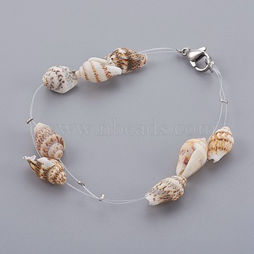 Spiral Shell Beads Braided Bead Bracelets, with Nylon Wire and Stainless Steel Finding, 7-5/8 inches(19.5cm)(BJEW-JB03999)