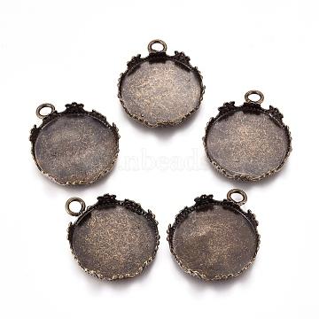 Antique Bronze Brass Flat Round Pendant Cabochon Settings, Lace Edge Bezel Cups, Nickel Free, Tray: 20mm Inner Diameter; 26x22x4mm, Hole: 3mm(X-KK-I557-AB-NF)
