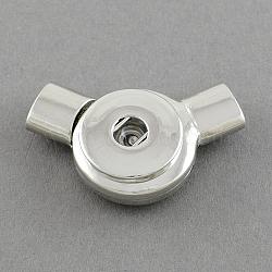 Платина плоский круглый латуни оснастки Застежка материалы для дизайна браслет, 42x23 мм, отверстие: 4 мм; подходят кнопках в 4x6 мм ручка(X-KK-S088)