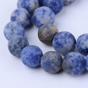 Natural Blue Spot Jasper Beads Strands, Frosted, Round, 10~10.5mm, Hole: 1.2mm, about 36pcs/strand, 15.5 inches(X-G-Q462-10mm-06)