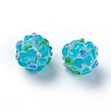 Handmade Bumpy Lampwork Beads, Round, Light Sky Blue, 12~13mm, Hole: 1.5~1.6mm(LAMP-E021-06A)