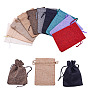 Burlap Packing Pouches Drawstring Bags, Mixed Color, Mixed Color, 14x10cm; 3pcs/color, 30pcs/set