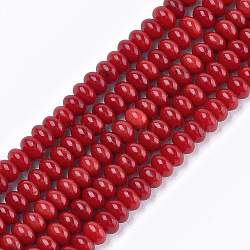 """Chapelets de perles en perles de corail en bambou de mer (imitation corail), teint, rondelle, firebrick, 6~6.5x4mm, trou: 0.6mm; environ 101 pcs/chapelet, 15.7""""(X-CORA-T009-30)"""