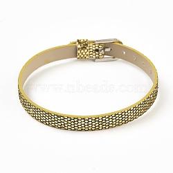 """Bracelet en cuir pu, ceinture de montre, Fit charms slide, avec des agrafes de fer, platine, or, 8-5/8"""" (22cm); 7.5x1.5mm(BJEW-E350-10D)"""