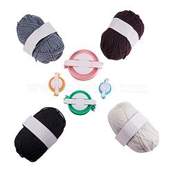 fabricant de boules de bricolage, métier à tricoter en plastique avec fil de fibres acryliques, couleur mélangée, 2~3 mm(DIY-PH0001-43)