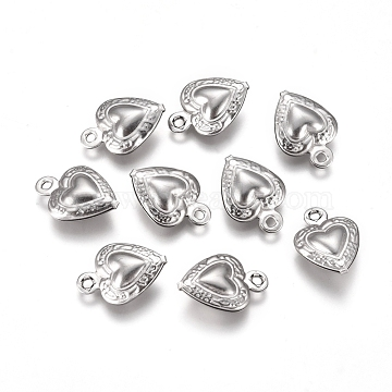 304 Stainless Steel Charms, Heart, Stainless Steel Color, 12x9x3mm, Hole: 1mm(X-STAS-I138-14P)