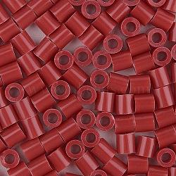 1 boîte 5 mm perles fondantes pe bricolage en perles à repasser recharges perler perles pour les enfants, Tube, brun, 5x5mm, trou: 3 mm; environ 500 / boîte(DIY-X0047-47-B)
