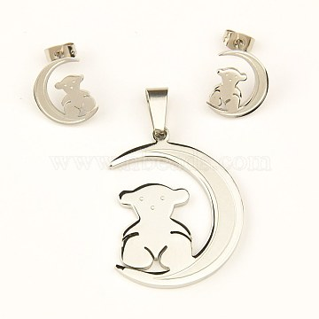 304 Stainless Steel Jewelry Sets, Pendants and Ear Studs, Moon with OSO TO US Bear, 36x28x2mm, 15x12x1mm(X-SJEW-C023-6P)