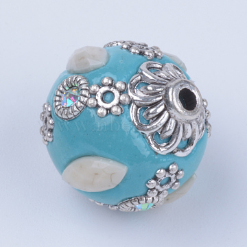 Handmade Indonesia Beads, Round, Antique Silver, SkyBlue, 18x16mm, Hole: 2mm(X-IPDL-R036-08)