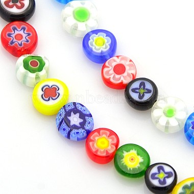7mm Mixed Color Flat Round Millefiori Lampwork Beads