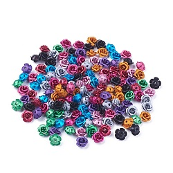 Aluminum Beads, Frosted, Long-Lasting Plated, 5-Petal Flower, Mixed Color, 7.5~8x5mm, Hole: 1mm(X-FALUM-T001-03B-M)