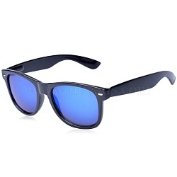 Trendy Unisex Summer Sunglasses, Plastic Frames and Polycarbonate Lenses, Black, Blue, 14.4x4.9cm(SG-BB27691-2)