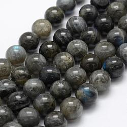 Natural Labradorite Beads Strands, Grade A+, Round, 12mm, Hole: 1mm; about 32pcs/strand, 15.3''(39cm)