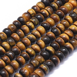 """Chapelets de perles d'œil de tigre naturel, rondelle, 6x4mm, trou: 0.6mm; environ 97 pcs/chapelet, 15.5"""" (39.5 cm)(G-K293-B04-A)"""