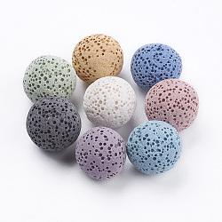 perles de parfum de lave naturelle, sphère de pierres précieuses, teints, arrondir, pas de trous / non percés, pour la fabrication de pendentifs, couleur mélangée, 15.5~16 mm(G-I190-16mm-B)