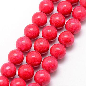 14mm Red Round Fossil Beads