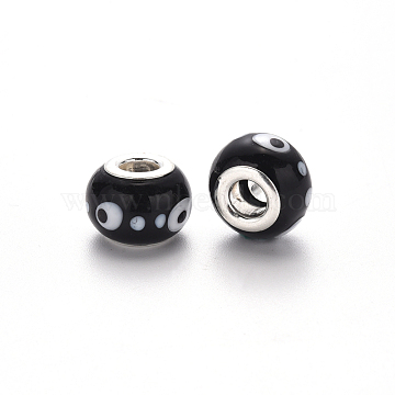 Handmade Lampwork European Beads, Large Hole Rondelle Beads, with Platinum Tone Brass Double Cores, Rondelle, Black, 14~15x9~10mm, Hole: 5mm(LPDL-N001-046-B11)