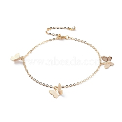 Brass Butterfly Charm Anklets, with Cable Chains, Crystal Rhinestone and Lobster Claw Clasps, Real 18K Gold Plated, 9-1/4 inches(23.5cm)(AJEW-AN00281-02)