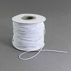 Round Elastic Cord, with Fibre Outside and Rubber Inside, for Bracelet String, DIY Face Cover Mouth Cover, White, 1mm; 100m/roll(EC-R001-1mm-001A)