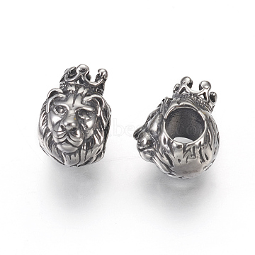 304 Stainless Steel European Beads, Large Hole Beads, Lion, Antique Silver, 13x9x11mm, Hole: 4.5mm(STAS-F195-137AS)