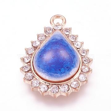 Alloy Porcelain Pendants, with Rhinestone, teardrop, Golden, Blue, 27x20x5mm, Hole: 2mm(PALLOY-J705-09-01G)