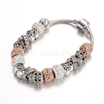 Alloy Rhinestone Bead European Bracelets, with Glass Beads and Brass Chain, Crystal AB, 190mm(BJEW-L602-27A)