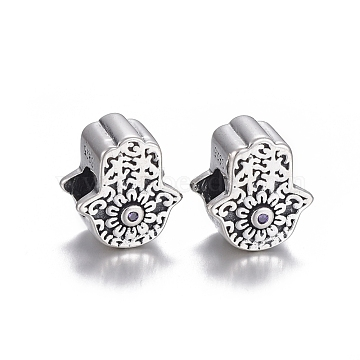 925 Sterling Silver European Beads, Large Hole Beads, with Cubic Zirconia, Carved with 925, Hamsa Hand/Hand of Fatima/Hand of Miriam, Thai Sterling Silver Plated, 11.5x10.5x8mm, Hole: 4.5mm(OPDL-L017-043TAS)