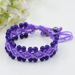 Bracelets de bijoux à la mode, tressé la corde en nylon avec des pierres précieuses et hématite perles rondes, indigo, améthyste, 43mm(BJEW-M002-13)