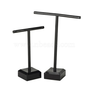 T Bar Organic Glass Earring Display Stand, T Bar with Two Holes, Black, 6x9cm; 8x11cm; 2pcs/set(EDIS-G001-02)