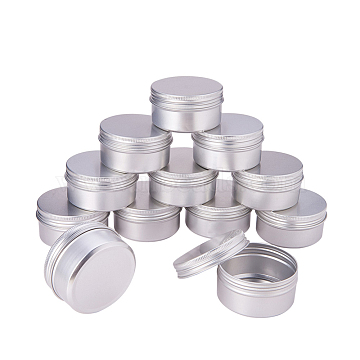 80ml Round Aluminium Cans, Aluminium Jar, Storage Containers for Cosmetic, Candles, Candies, with Screw Top Lid, Silver, 6.8x3.5cm; Capacity: 80ml(2.7 fl. oz)(CON-WH0002-80ml)