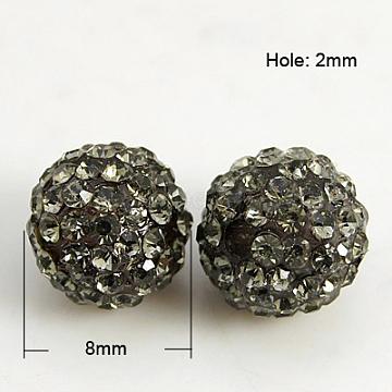 8mm Round Resin+Rhinestone Beads