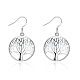 High Quality Silver Plated Brass Tree of Life Dangle Earrings(EJEW-BB12301)-1