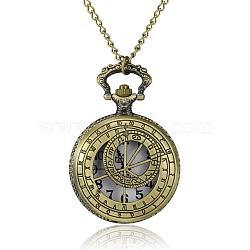 Flat Round Alloy Quartz Pocket Watches, with Iron Chains and Lobster Claw Clasps, Antique Bronze, 31.1inches; Watch Head: 68x46x15mm; Watch Face: 35mm(WACH-N039-03A)