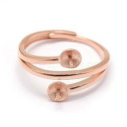 925 элементы кольца из стерлингового серебра, за половину пробурено бисера, розовое золото, Размер 7, 17 mm; лоток: 4 mm, контактный: 0.7~1 mm(STER-P041-12RG)