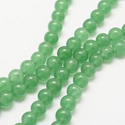 Природные пряди авантюрин зеленый шарик, круглые, окрашенные, 6 мм, Отверстие : 1 мм; около 62 шт / нитка, 15.7''(G-G735-42-6mm)