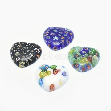 Handmade Millefiori Glass Cabochons, Heart, Mixed Color, 28~30x28~30x5~6.5mm(LAMP-O016-21)