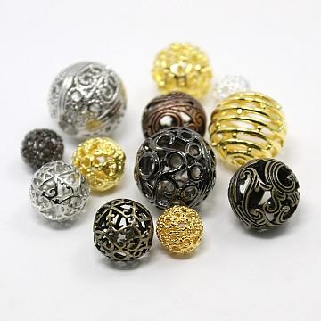 Mixed Color Round Brass Filigree Hollow Beads, Filigree Ball, Lead Free & Nickel Free, 10~18mm, Hole: 1~5mm(KK-X0031-FF)