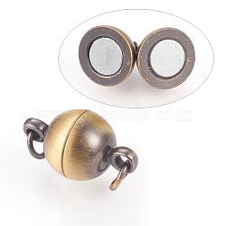Fermoirs magnétiques en laiton, rond, bronze antique brossé, 14x8mm, Trou: 3mm(KK-E737-38AB)