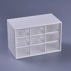 Plastic Cosmetic Storage Display Box, Makeup Organizer, Three-layer Drawer , White, 18x9.8x11.9cm(X-AJEW-WH0096-62)