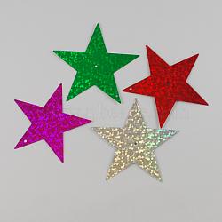 perles de paillette en plastique, perles de paillettes, étoiles, couleur mélangée, 50x50x0.3 mm, trou: 1 mm(X-PVC-Q001-36)