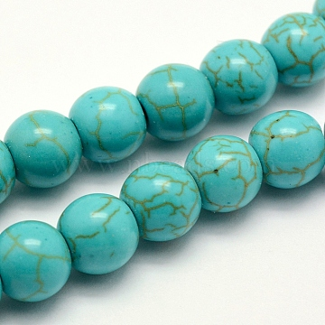 Synthetic Turquoise Beads Strands, Dyed, Round, Turquoise, 4x3~3.5mm, Hole: 1mm; about 94pcs/strand, 14.5inches(37cm)(X-TURQ-F007-01B-4mm)
