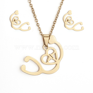 304 Stainless Steel Jewelry Sets, Pendant Necklaces and Stud Earrings, with Cable Chains, Earring Backs and Lobster Claw Clasps, Stethoscope, Golden, 17.7 inches(45cm); 6x10.5x1mm, Pin: 0.8mm(X-SJEW-D094-09G)