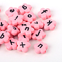 Opaque Acrylic Flower Letter Beads, Pink, 11x11x4mm, Hole: 2mm